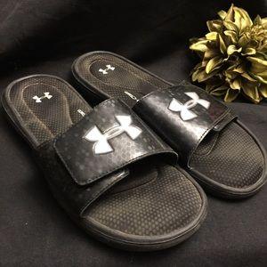 Under Armour-Men's Slides, Black/Grey-Size: 10